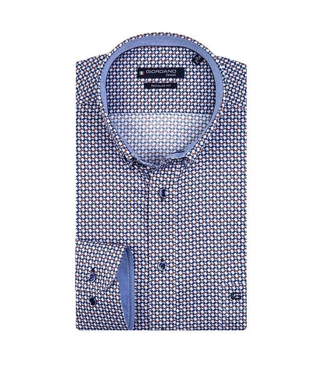 Giordano Overhemd Blauw-Bruin Print