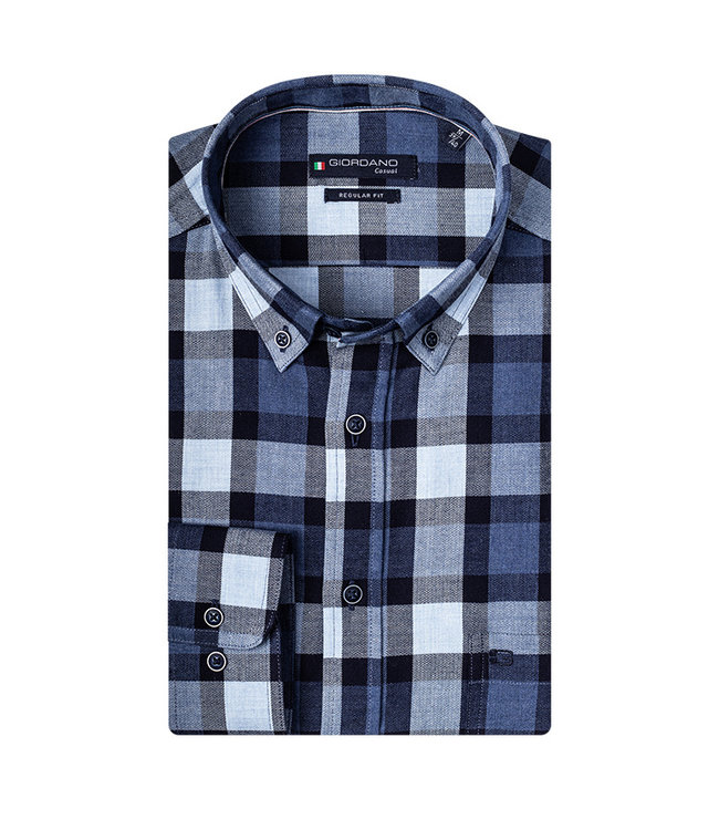 Giordano Overhemd Blauw Ruit