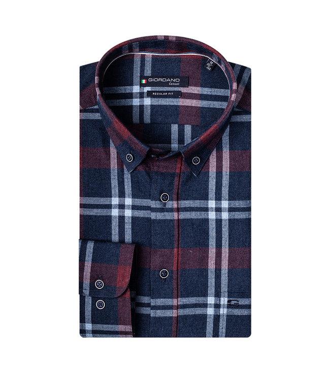 Giordano Overhemd Blauw-Rood Ruit