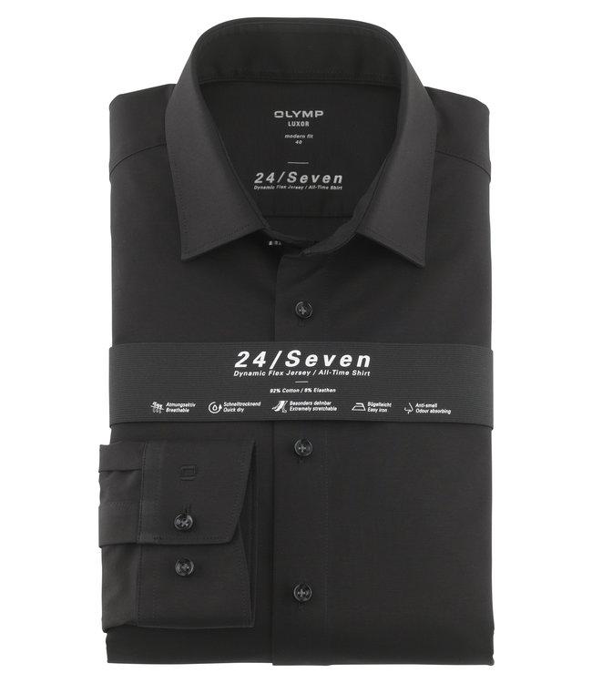 Olymp 24/Seven Modern Fit  Overhemd Zwart, 12026468