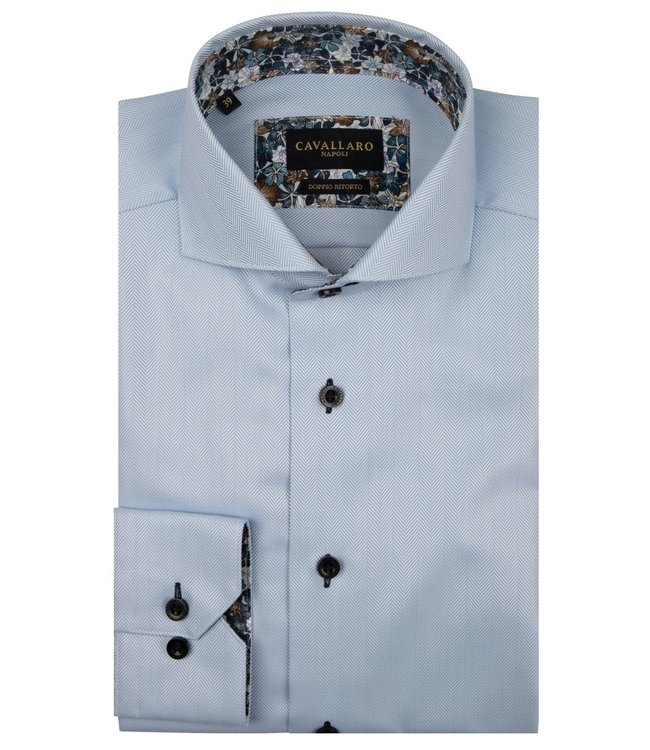 Cavallaro Napoli Overhemd Spinozo Lichtblauw, 110205022