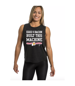Northern Spirit Black Muscle Tank Eggs & Bacon