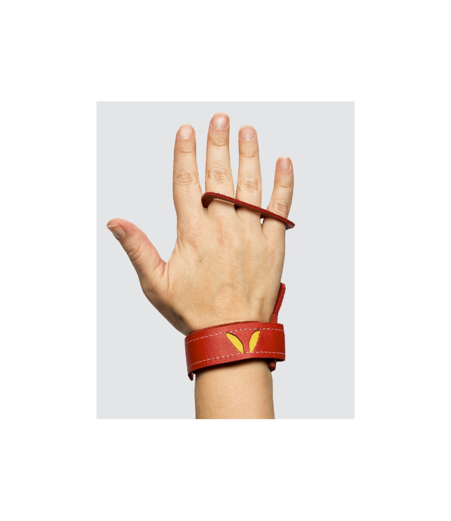 Victory grips Women's 3 Finger Red Leather