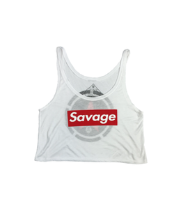 Savage Barbell Crop Top White