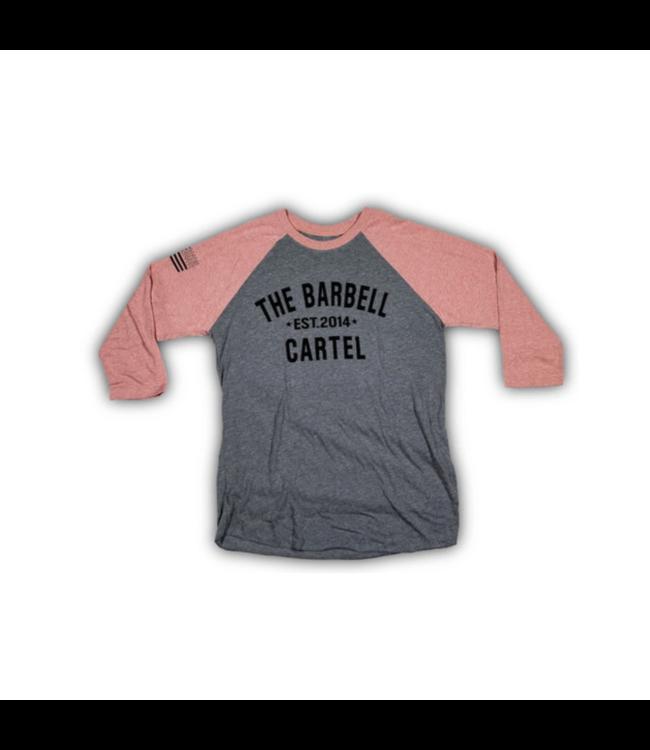 The Barbell Cartel 3/4 BASEBALL TEE ( UNISEX ) Desert Pink/ Heather Grey