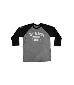 The Barbell Cartel 3/4 BASEBALL TEE ( UNISEX ) Black grey