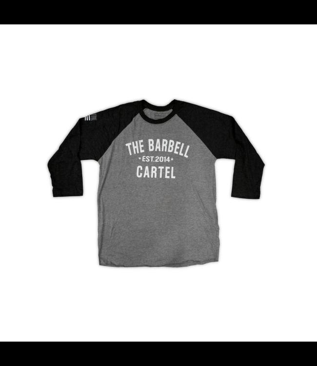 The Barbell Cartel 3/4 BASEBALL TEE ( UNISEX ) Black grey