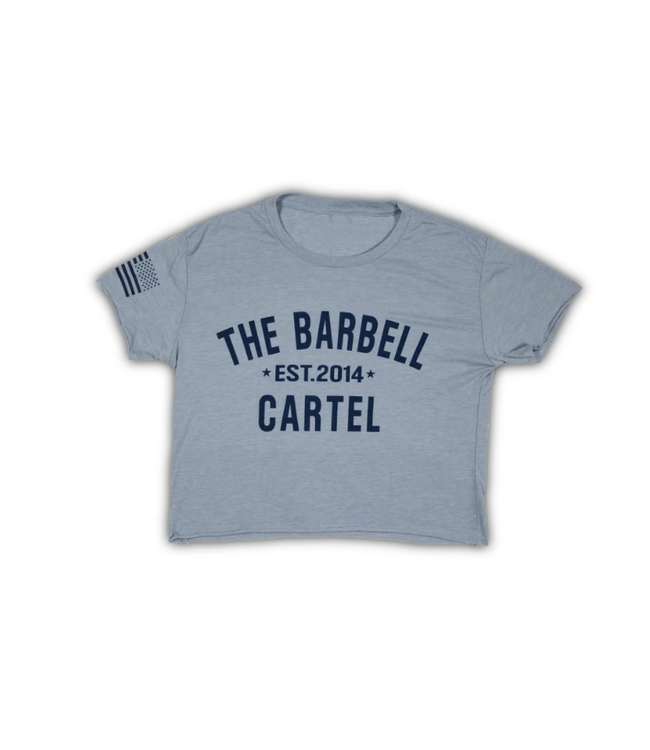 The Barbell Cartel CLASSIC LOGO CROPPED T-SHIRT (LIGHT BLUE)