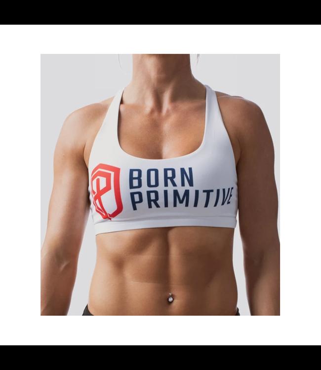 Born Primitive VITALITY SPORTS BRA (BRAND STRENGTH-WHITE)