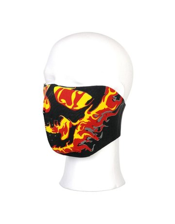 101 INC 101 Inc. Biker Mask Half Face (Yellow/Red Flames)