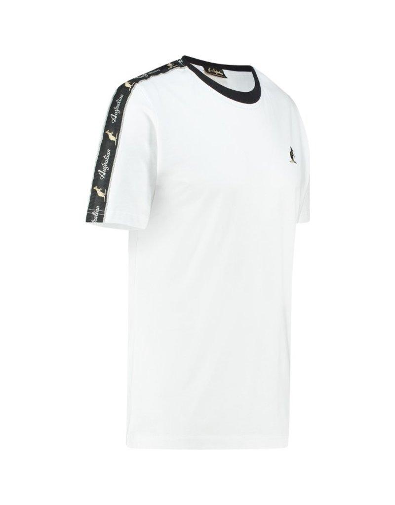 Australian Australian T-Shirt Jersey met sleeve bies (White/Black)
