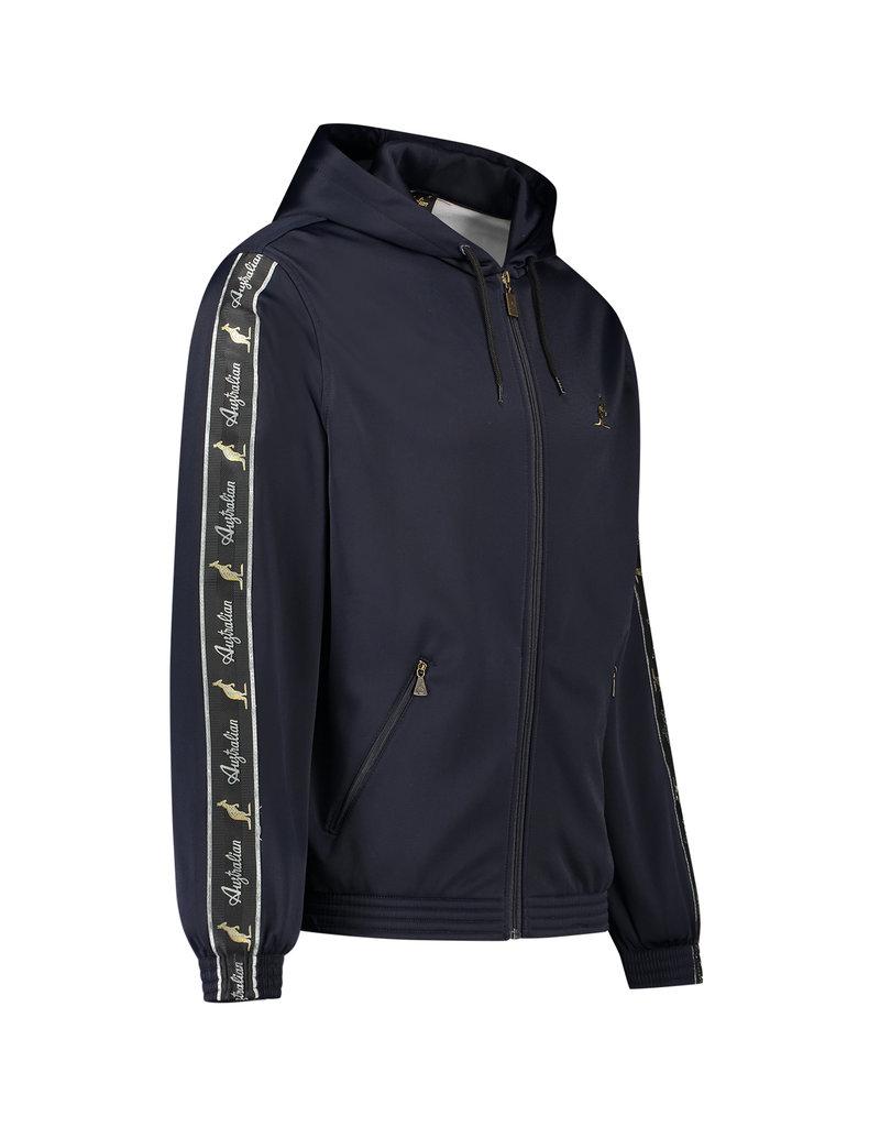 Australian Australian Hooded Track Jacket with tape (Blue Navy Melange/Black)