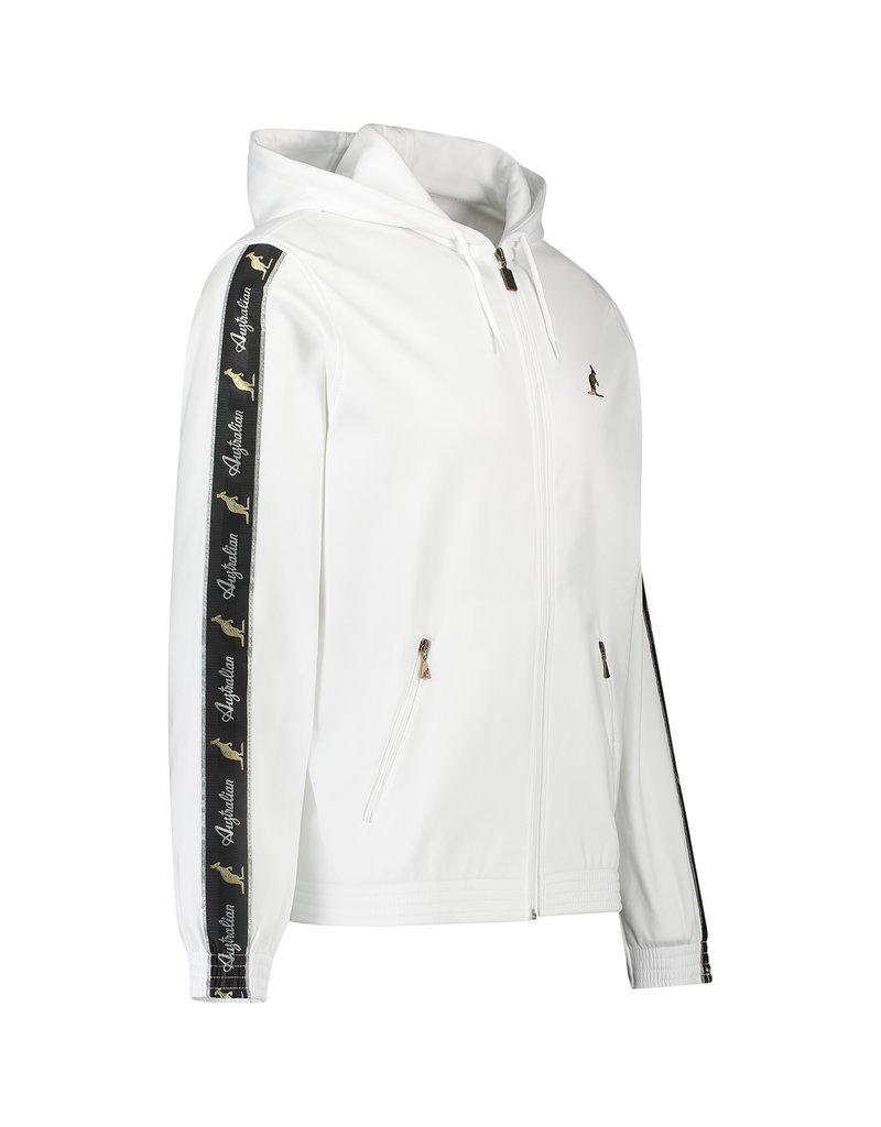 Australian Australian Hooded Track Jacket with tape (White/Black)