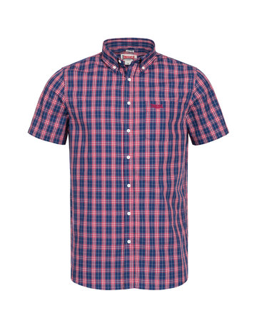 Lonsdale Lonsdale Men Shirt Slim Fit 'Brixworth' Red/White/Dark Blue