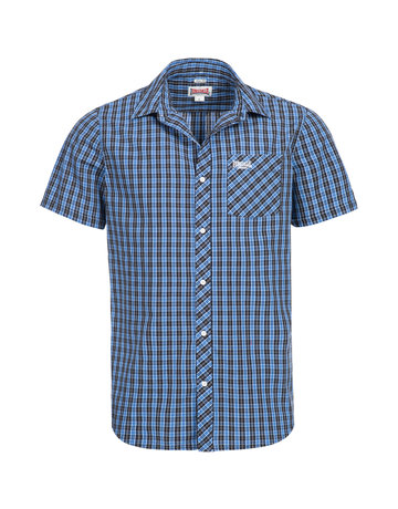 Lonsdale Lonsdale Men Shirt Slim Fit 'Brixworth' Blue/White/Black