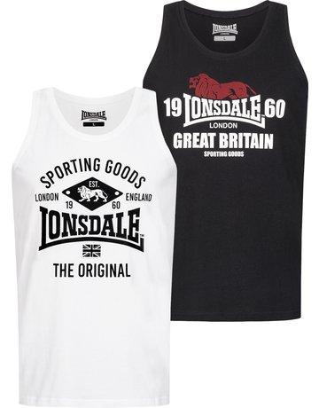 Lonsdale Lonsdale Herren Singlet schmale Passform Doppelpack 'Biggin'