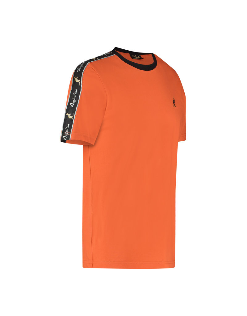 Australian Australian T-Shirt Jersey met sleeve bies (Lava/Black)