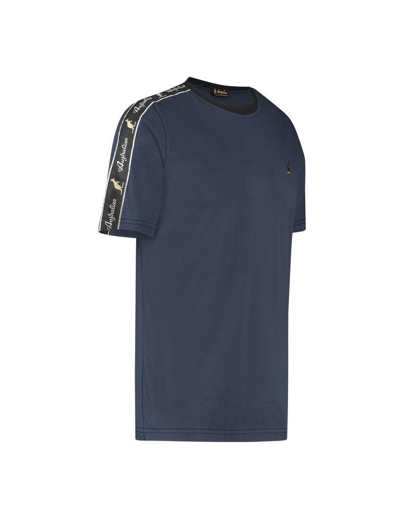 Australian Australian T-Shirt Jersey met sleeve bies (Blue Navy Melange/Black)