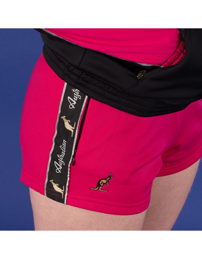 Australian Australian kurze Sporthose für Damen mit Streifen (Fuxia/Black)