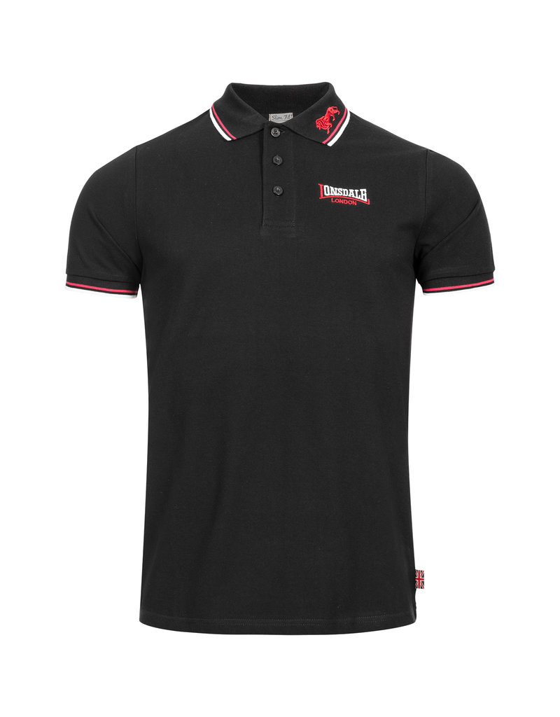 Lonsdale Lonsdale Polo 'Lion' (Black/Dark Red/White)