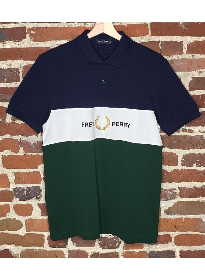 Embroidered panel polo t-shirt