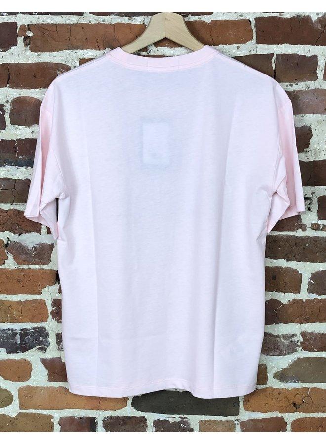 Satin trim t-shirt ice pink ( Femme )