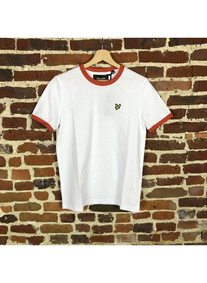 Ringer t-shirt white/paprika orange