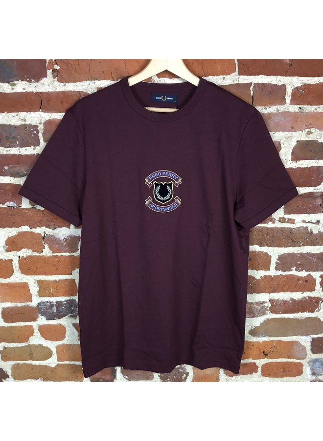Embroidered sheild t-shirt mahogany