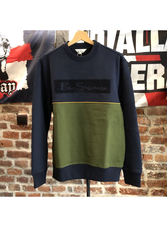 Colour blocked logo sweatshirt dark navy