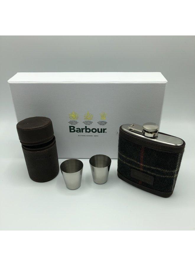 Tartan hip flask and cups gift set