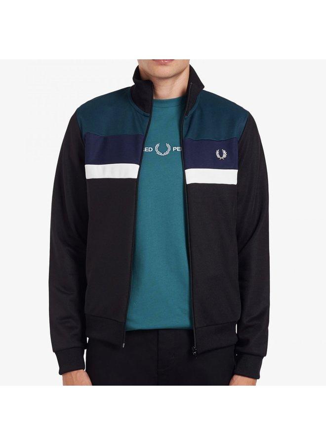 Colour block track jacket black