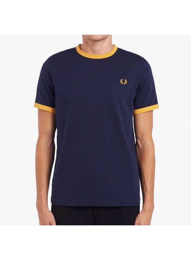 Ringer t-shirt Carbon blue