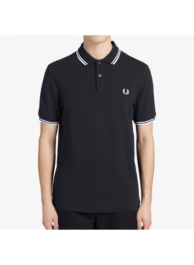 Twin tipped fred perry shirt navy/white