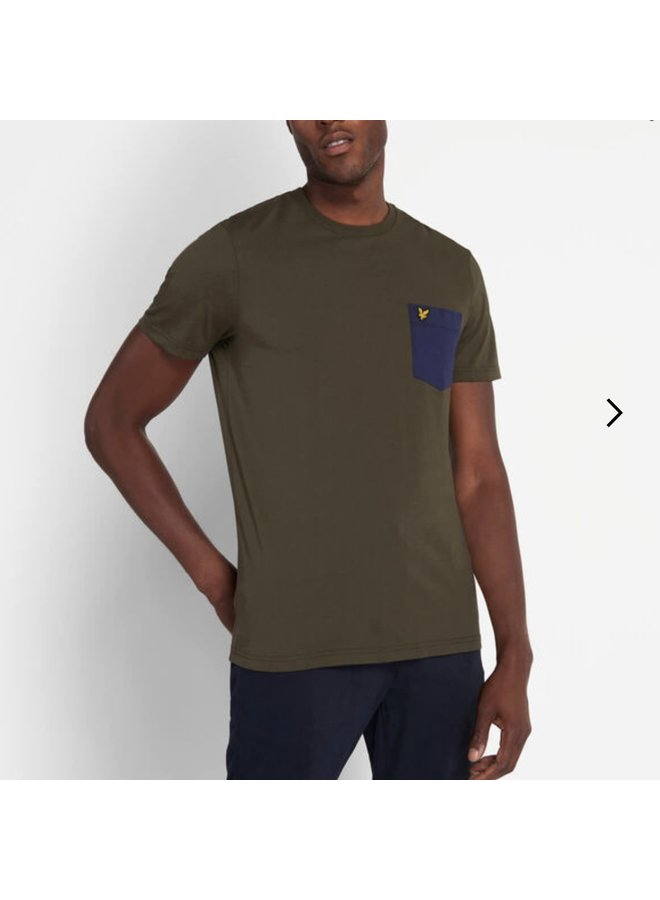 Contrast pocket t-shirt trek green/navy