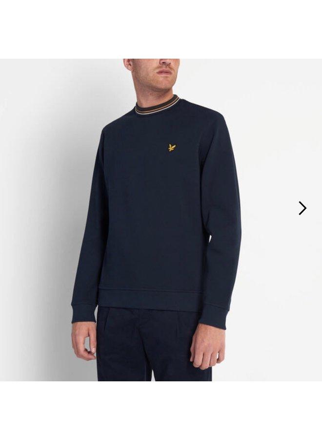 Pique sweatshirt With tipping dark navy