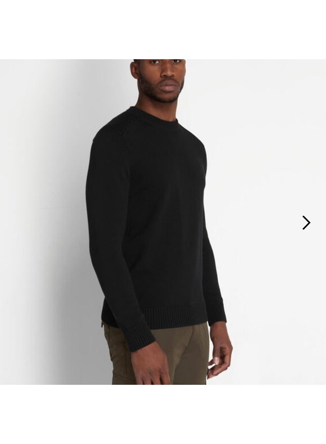 Shoulder detail crew neck knit jumper jet black