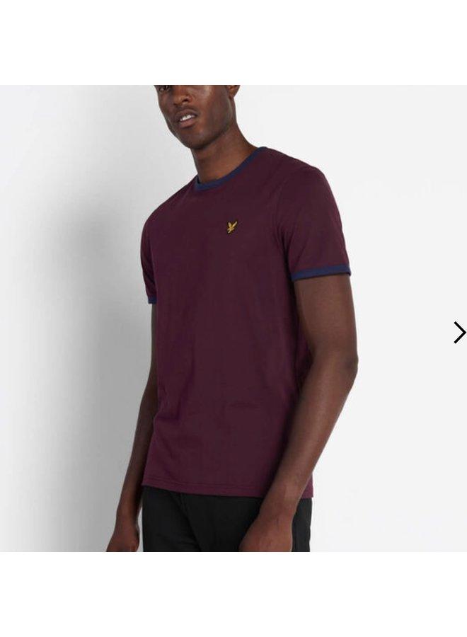 Ringer t-shirt burgundy/navy