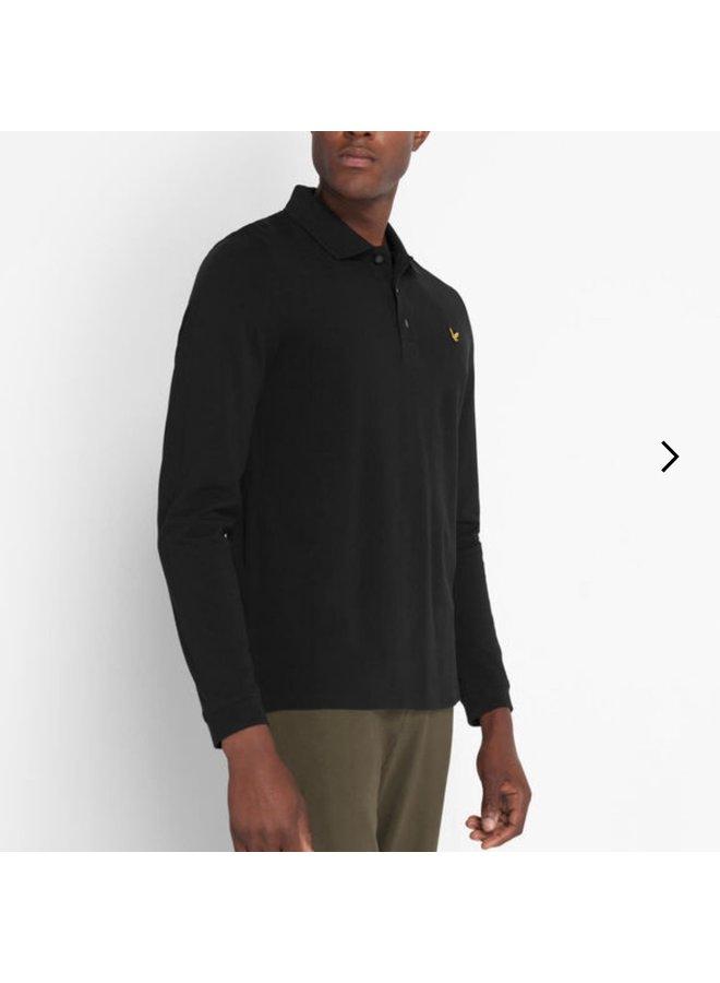 LS polo shirt jet black