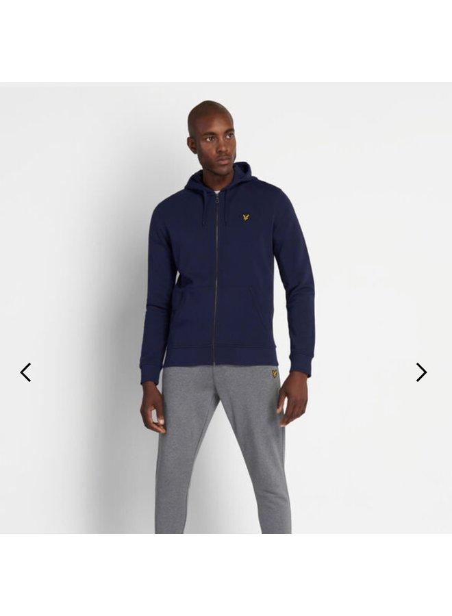 Zip through hoodie navy
