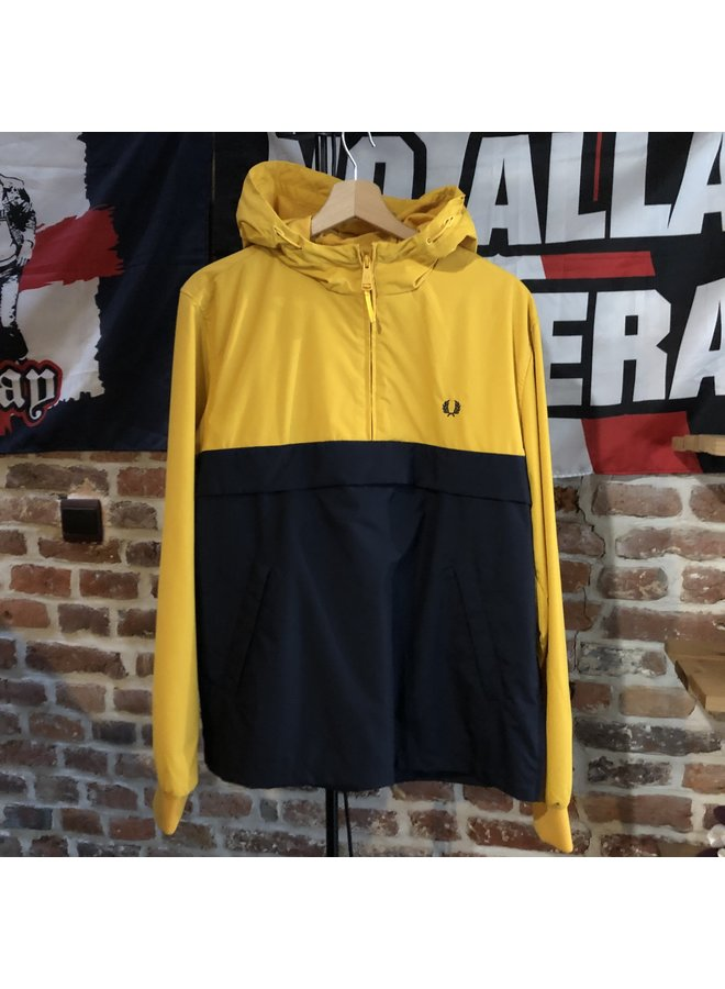 Half zip panelled jacket / bright amber