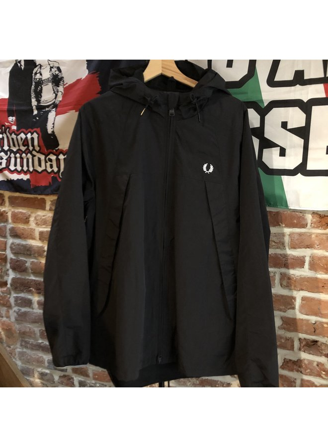 Panelled zip through jacket / black