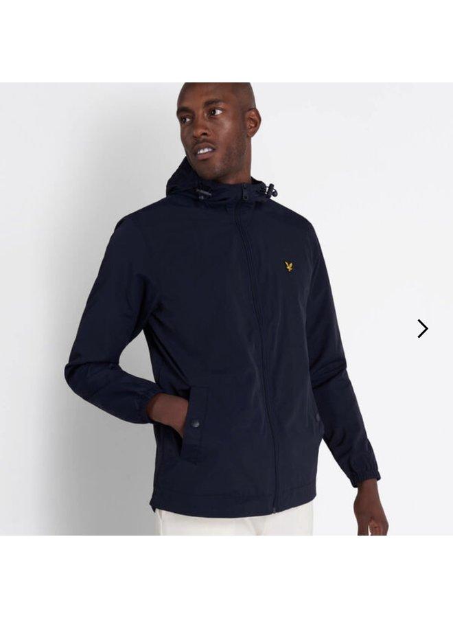Zip through hooded jacket dark navy