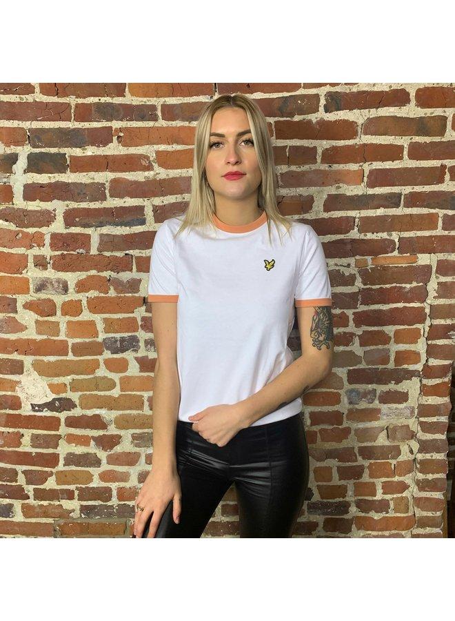 Ringer t-shirt femme white/dusk orange