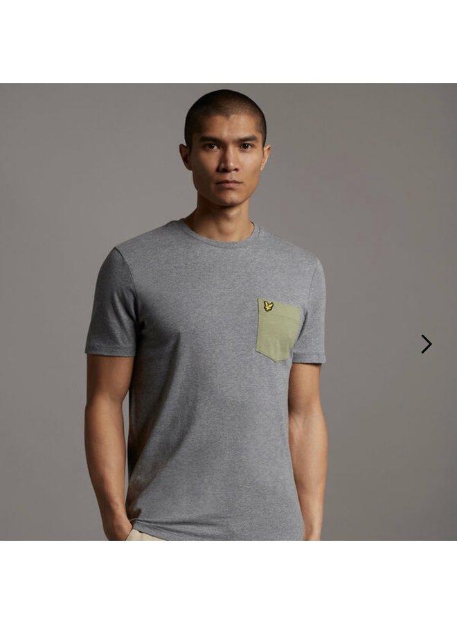 Contrast pocket t-shirt mid grey marl / moss