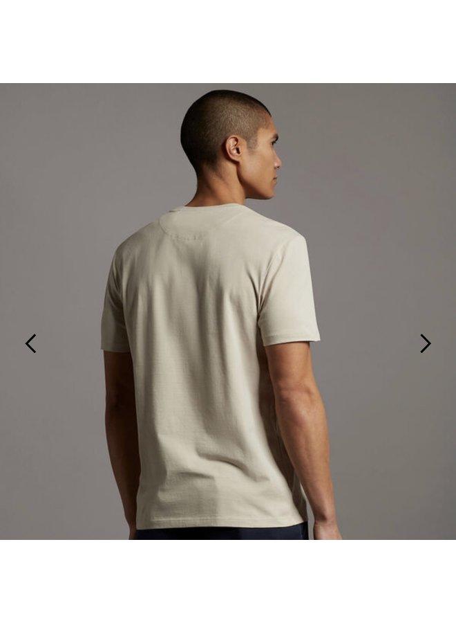 Contrast pocket t-shirt sesame/trek green