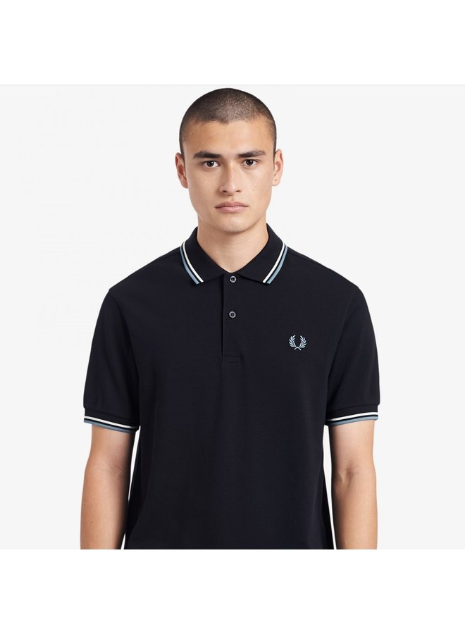 Twin tipped fred perry shirt - navy/snow/smoke blue