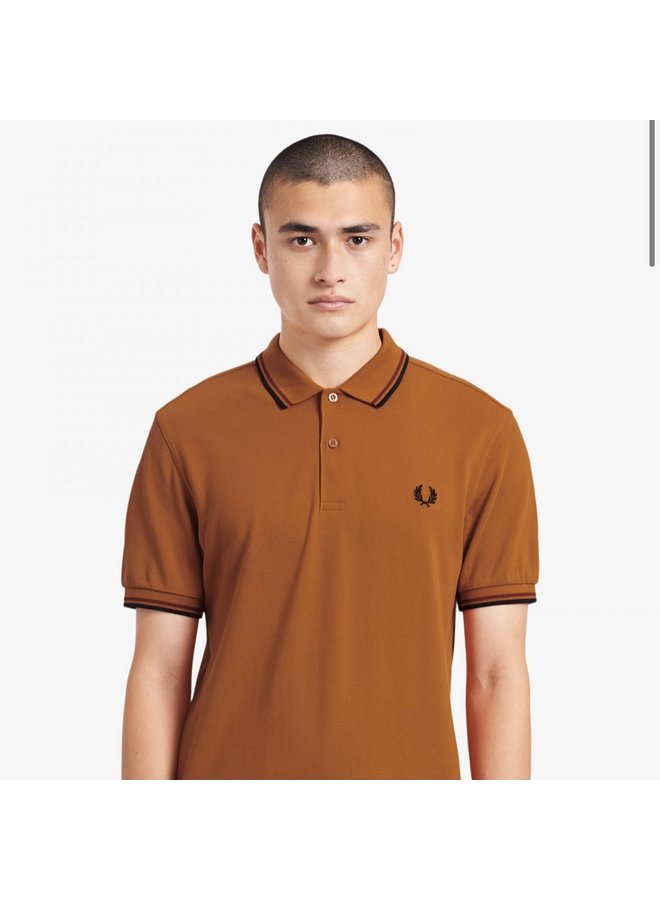 Twin tipped fred perry shirt / rust