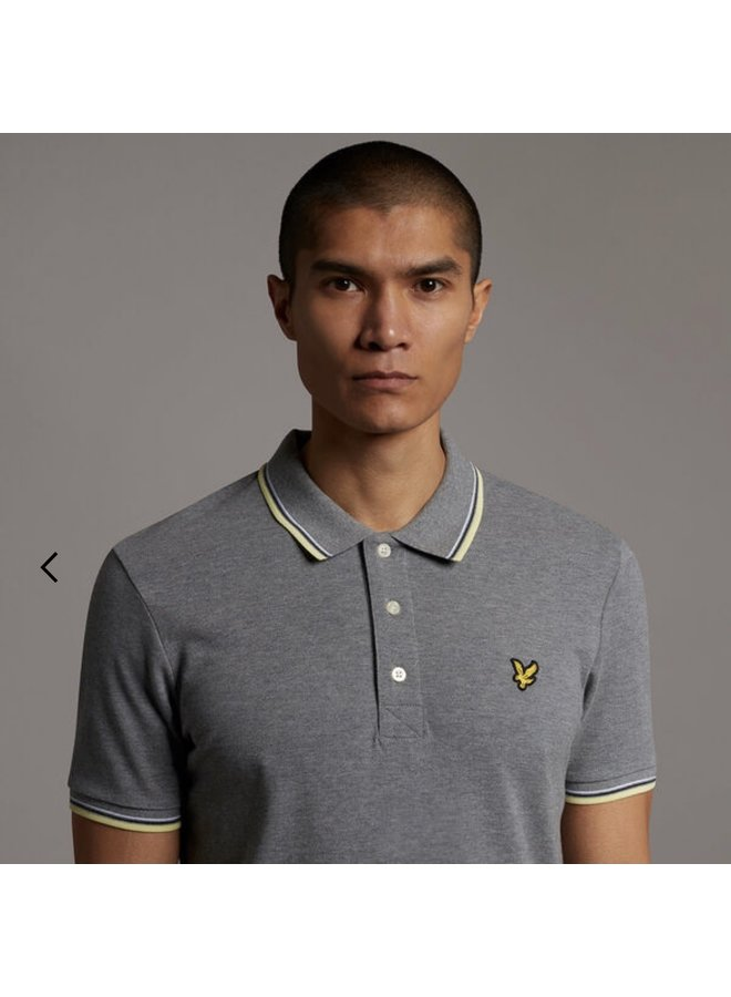 Tipped polo shirt mid grey marl / lemon