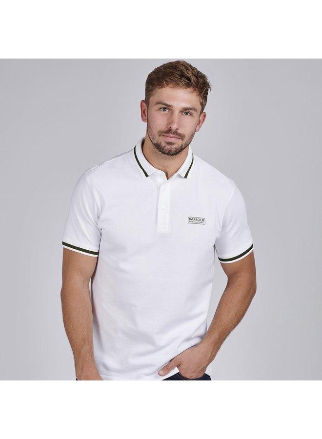 B.intl grid tipped polo shirt - white