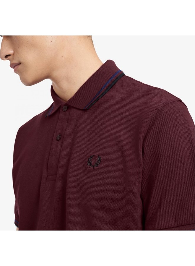 Twin tipped fred perry shirt - aubergine
